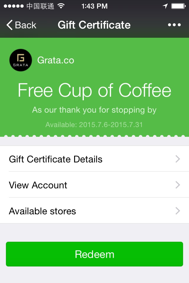 WeChat Gift Certificate